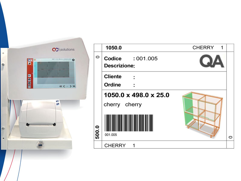 QA\LABEL - The integrated labeling and production organization system for vertical and horizontal saws