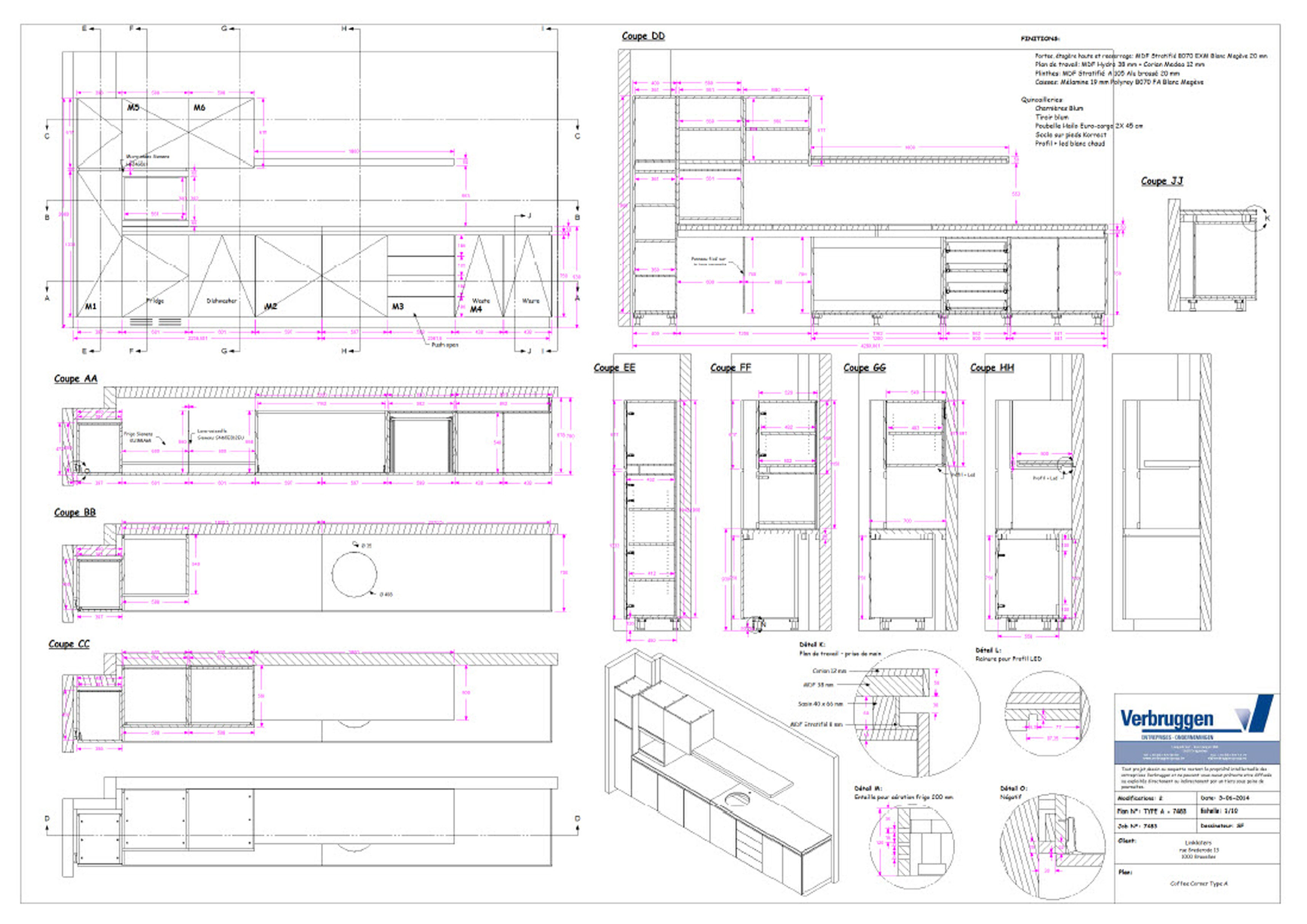 2D drawing for woodwork and interior design