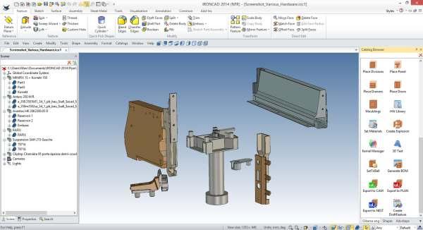 <b>woodLAB</b> <b>IronCAD</b> travaille avec des quincaillerie 3D